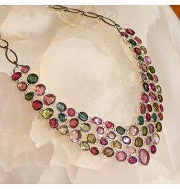 Multi-color Tourmaline SS Necklace