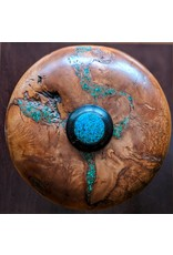 Little River Woodworks Mountain Laurel Burl and Blackwood Urn with Copper, Malachite and Turquoise Inlays