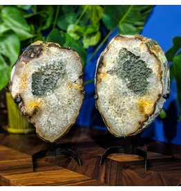 JGM Gray Druzy Quartz Geode Slice Pair 8.80kg and 7.20kg on Stands