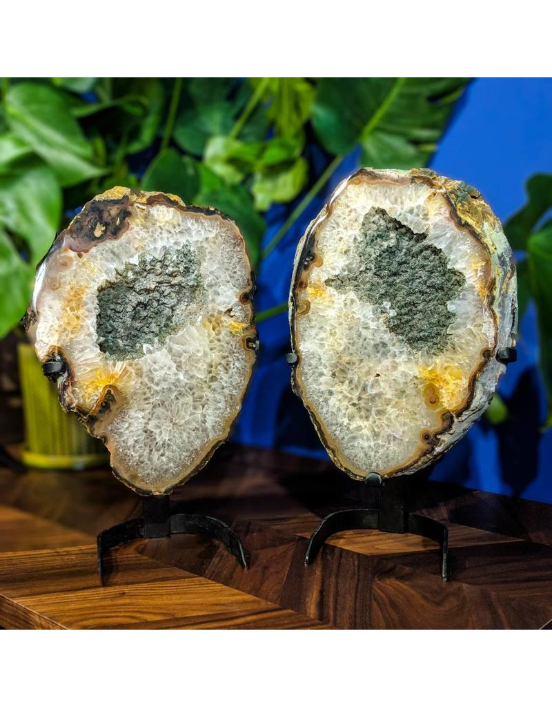 Gray Druzy Quartz Geode Slice Pair 8.80kg and 7.20kg on Stands