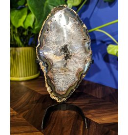 Druzy Quartz Geode Slice on Stand 5.45kg
