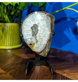 JGM Quartz Geode Slice on Stand 2750g