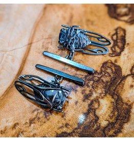 Miki Tanaka Cicada Oxidized SS Cufflinks 25mm
