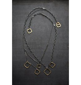 "Miki Tanaka ""Milky Way"" 18k Gold, Oxidized SS Necklace 425mm"