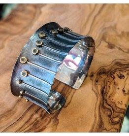Bora Jewelry Chalcedony Gold Plate Oxidized SS Cuff Bracelet