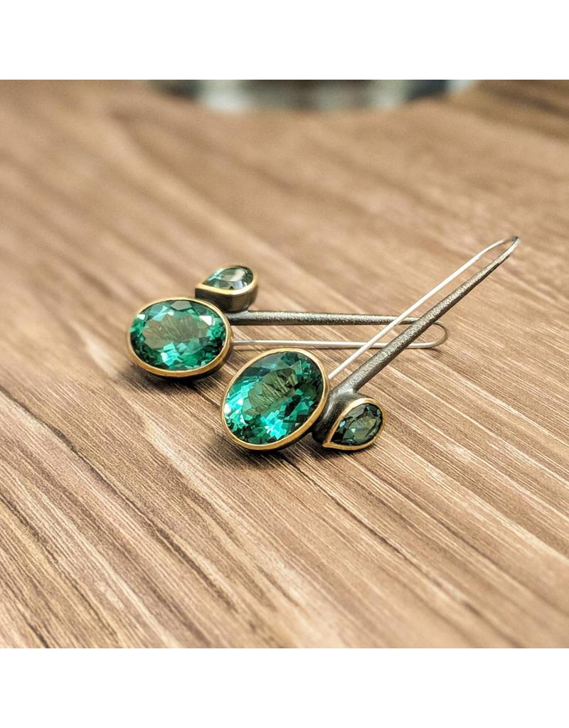 Blue Quartz Gold Plate Oxidized Ss Earrings