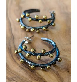Bora Jewelry Gold-plated Oxidized Silver Earrings