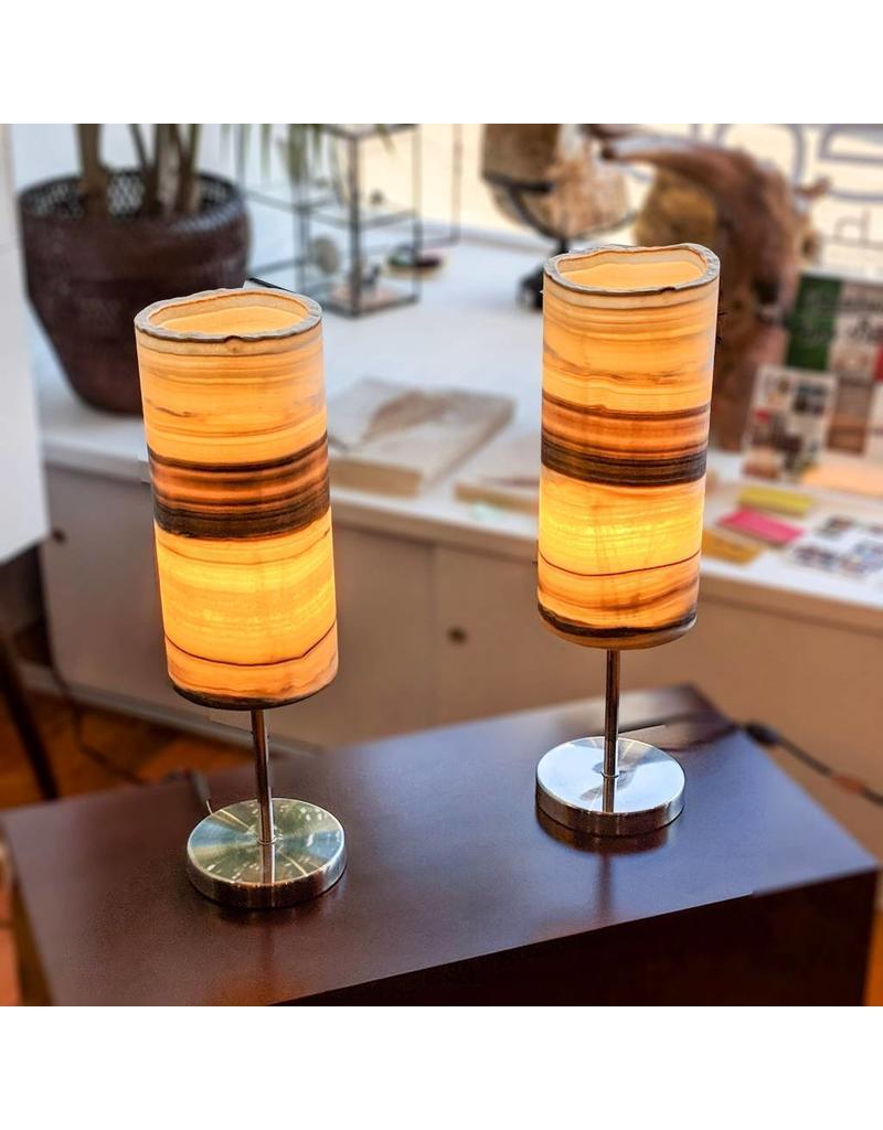 Zebra Onyx Cylindrical Lamp w/ Stainless Base 35x15cm Mexico