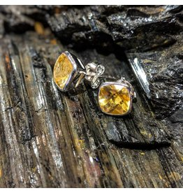 Citrine Stud Earrings 8mm