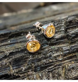 Citrine Round SS Stud Earrings 7mm