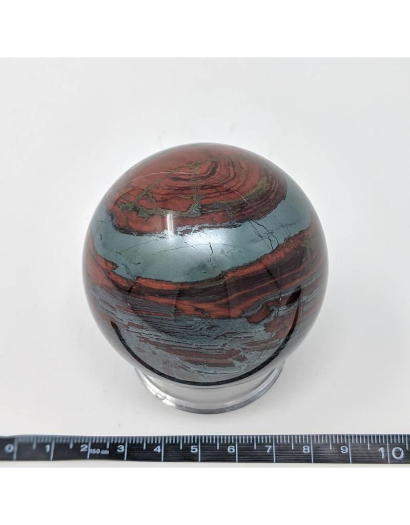 Hematite and Red Jasper Sphere 64mm 432g