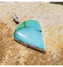 Sterling Creations Tibetan Turquoise SS Pendant