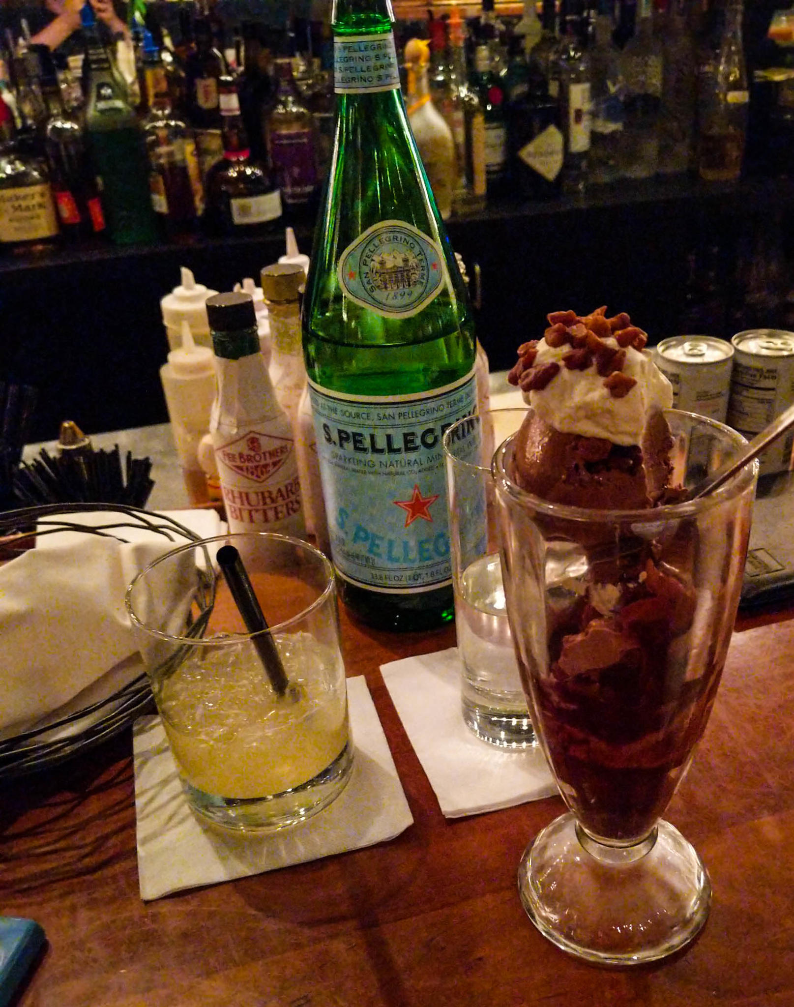 Downtown Kitchen's Dark Chocolate Jalapeno Ice Cream Sundae and a Pineapple Soda
