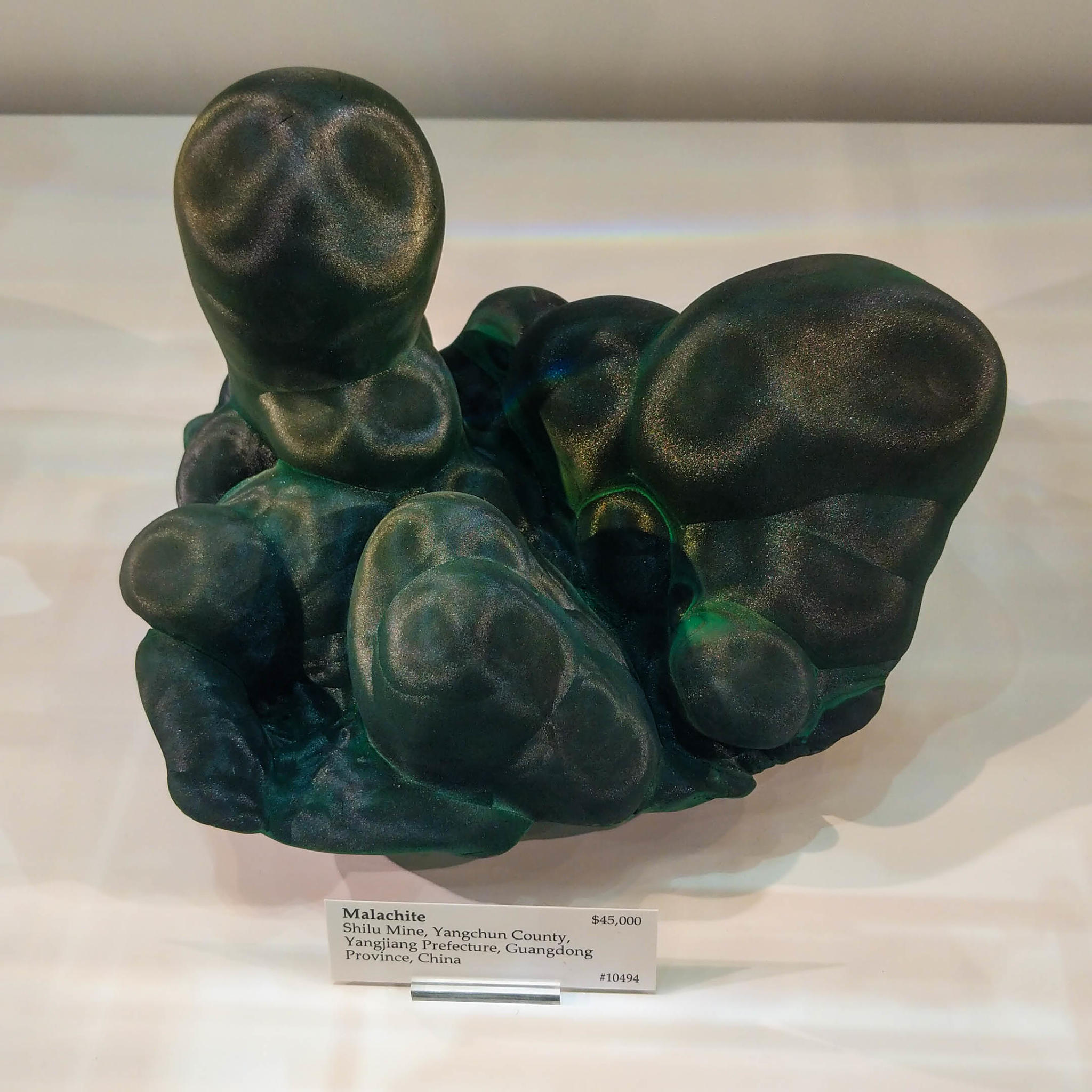 Satiny, dark Malachite on display at the 2018 Tucson Gem and Mineral Show