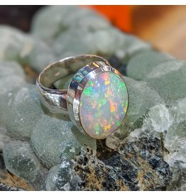 Ethiopian Welo Opal SS Ring 9