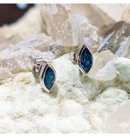 London Blue Topaz SS Stud Earrings 8x4mm