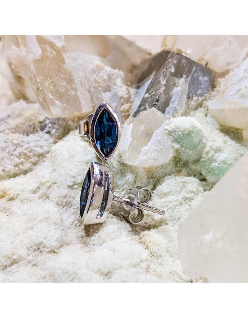 London Blue Topaz Stud Earrings 8x4mm