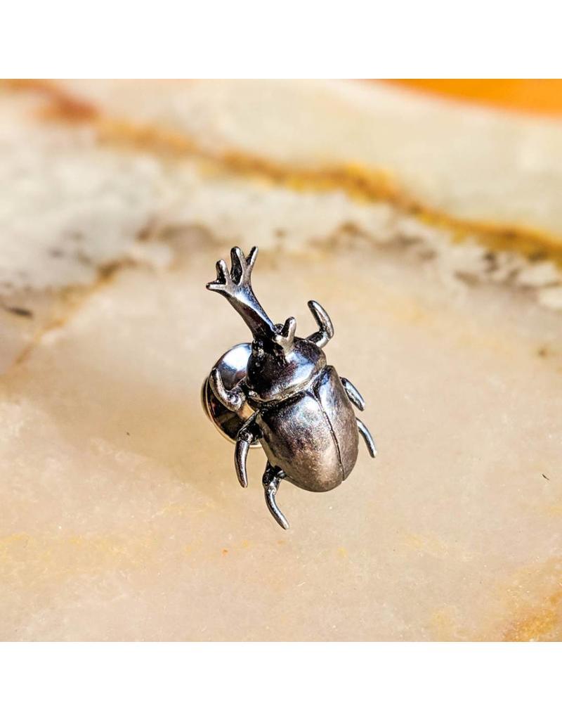Miki Tanaka Rhinoceras Beetle Oxidized SS Pin 28mm