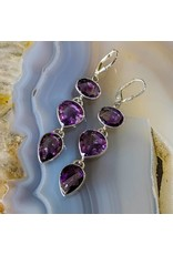Hematite Amethyst SS Earrings