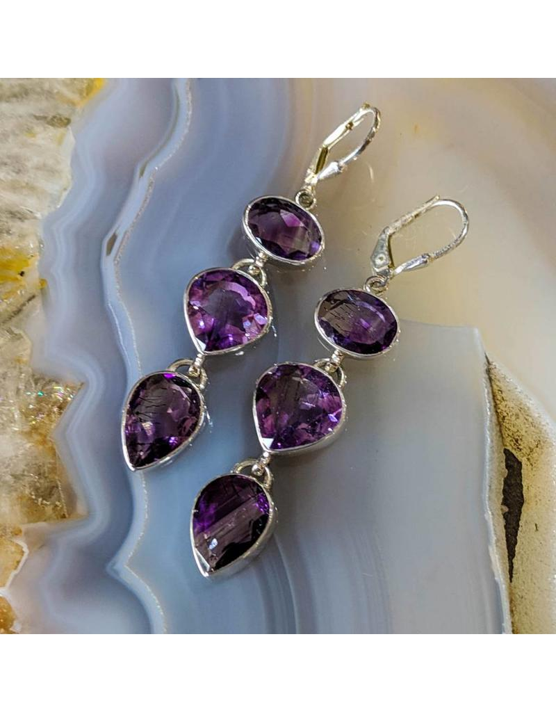 Hematite Amethyst Earrings