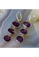 Sterling Creations Hematite Amethyst Earrings