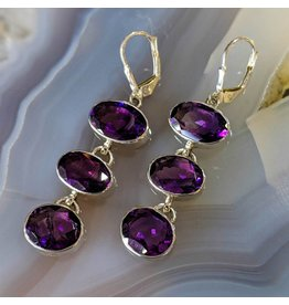 Hematite Amethyst SS Earrings