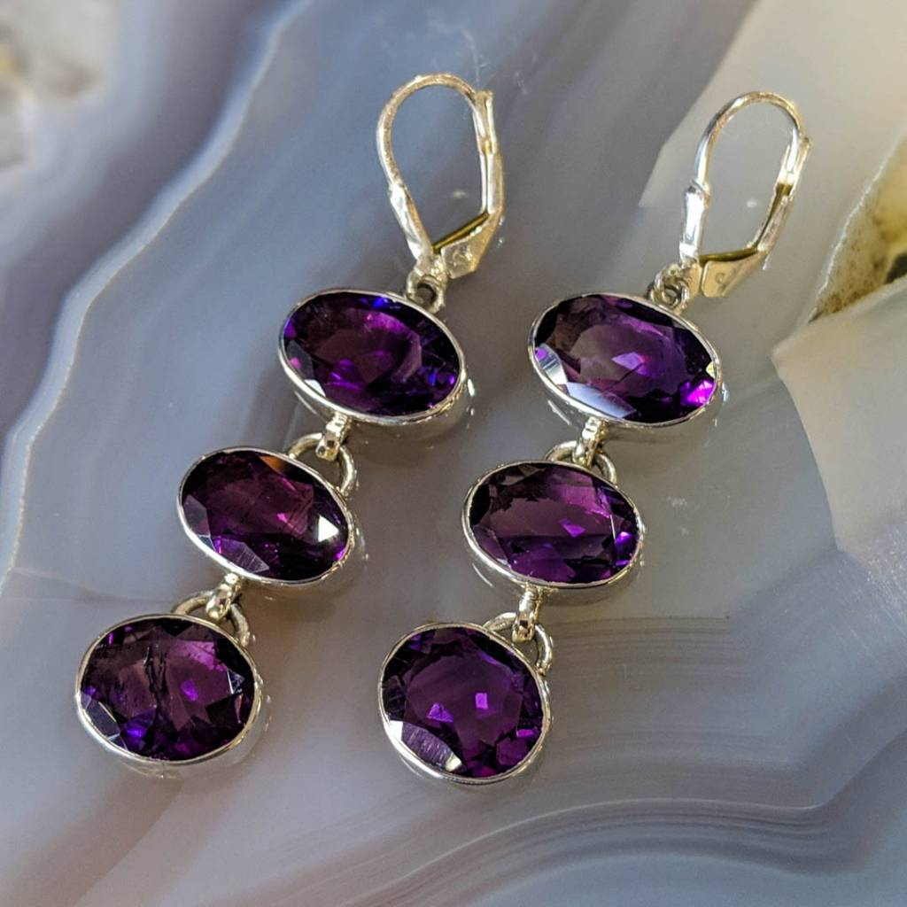 Grey Earrings Gray Natural Stone Earrings Protection Stones Hematite Earrings Healing Stones 925 Sterling Silver Neutral Tone Earrings