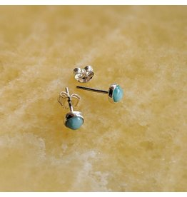Larimar Stud Earrings 5mm