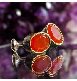 Bora Jewelry Carnelian 24K Oxidized SS Cufflinks