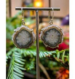 Gray Quartz Stalactite SS Earrings