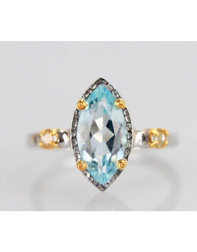 Ambica New York Blue Topaz Clear Topaz GP SS Ring 7