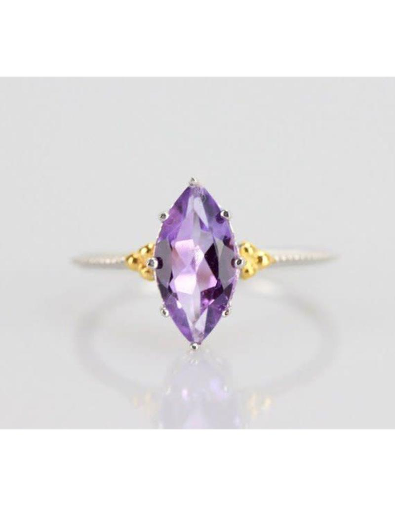 Ambica New York Amethyst GP SS Ring 7.5