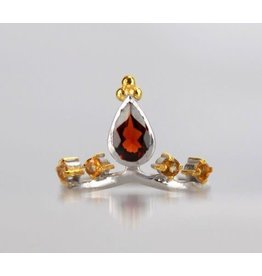 Ambica New York Garnet Citrine Gold-plate SS Ring 7.5