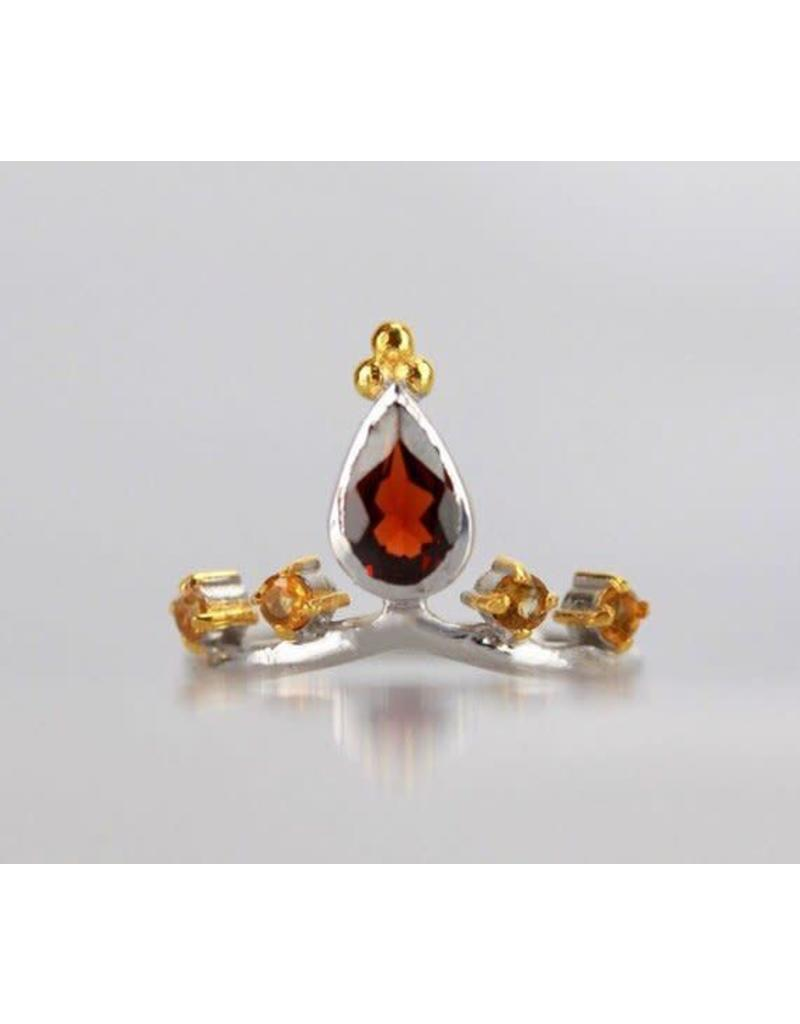 Ambica New York Garnet Citrine GP Ring 7.5