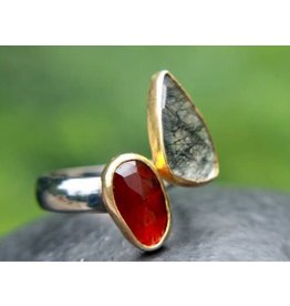 Ambica New York Garnet Rutile Quartz 18K GP SS Ring 8