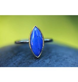 Ambica New York Lapis GP SS Ring 6.5