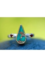 Ambica New York Turquoise Garnet GP SS Ring 7