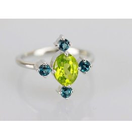 Ambica New York Peridot London Blue Topaz SS Ring 7