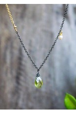 Ambica New York Peridot Pearl GP Oxidized SS Necklace 50cm
