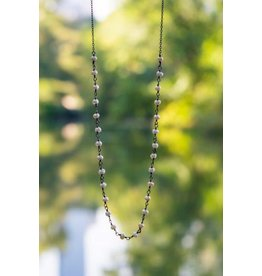 Ambica New York Pearl Oxidized SS Linked Bead Necklace 47cm