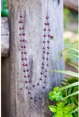 Ambica New York Garnet Oxidized SS Linked Bead Necklace 425mm