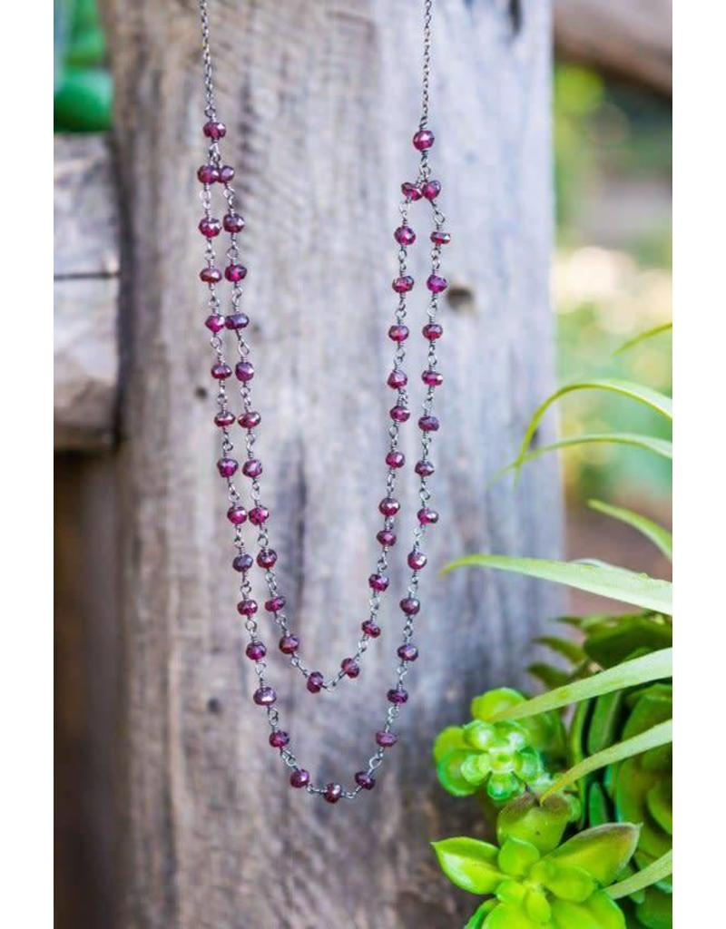 Ambica New York Garnet Oxidized Linked Bead Necklace 425mm