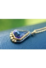 Ambica New York Amethyst 14K GP SS Pendant Chain 46cm
