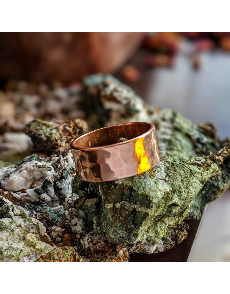Hammered Solid Copper Ring 8mm
