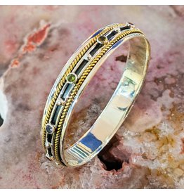 Multi Stone Brass Silver Oxidized Spinner Bangle 6cm