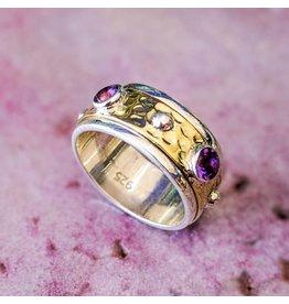 Amethyst Brass Spinner Ring 8