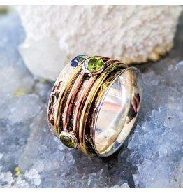 Peridot Brass Copper Spinner Ring 9