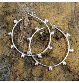 Balaam Design Ball Hoop Earrings