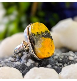 Bumble Bee Jasper Ring 6.5