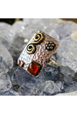 Mystic Earth Gems Silver Brass Copper Ring with